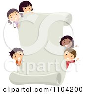 Clipart Happy Diverse Children Looking Around A Scroll Page Royalty Free Vector Illustration by BNP Design Studio