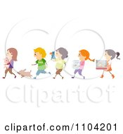 Clipart Happy Children Taking Their Pets To Show And Tell Royalty Free Vector Illustration by BNP Design Studio