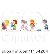 Clipart Happy Diverse Children With Their Toys Royalty Free Vector Illustration