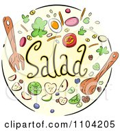 Salad Icon With Utensils And Toppings