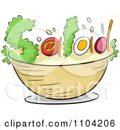 Clipart Ingredients Forming The Word Salad Over A Bowl Royalty Free Vector Illustration by BNP Design Studio