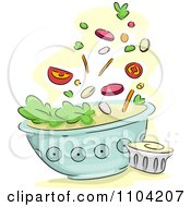 Salad Toppings Falling Into A Bowl With Dressing On The Side