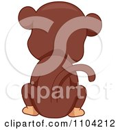 Clipart Hind View Of A Sitting Monkey Royalty Free Vector Illustration