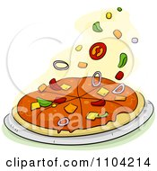 Clipart Toppings Falling Onto A Pizza Pie Royalty Free Vector Illustration
