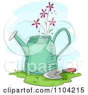 Clipart Pretty Pink Flowers Growing From A Watering Can With A Trowel Royalty Free Vector Illustration