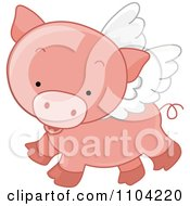 Cute Winged Pig Flying