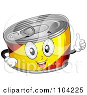 Clipart Happy Can Mascot Holding A Thumb Up Royalty Free Vector Illustration