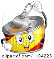 Clipart Happy Can Mascot Opening Its Lid Royalty Free Vector Illustration