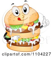 Clipart Happy Double Burger Mascot Holding A Thumb Up Royalty Free Vector Illustration