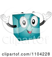 Happy Blue Cube Mascot Holding His Arms Up