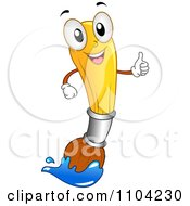 Happy Paintbrush Mascot Holding A Thumb Up And Dipped In Blue Paint