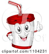 Happy Soda Cup Mascot Holding A Thumb Up