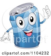 Clipart Happy Blue Soda Can Mascot Royalty Free Vector Illustration by BNP Design Studio