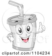 Clipart Happy White Soda Cup Holding A Thumb Up Royalty Free Vector Illustration