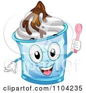 Happy Frozen Yogurt Sundae Mascot Holding A Spoon