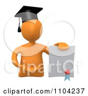 Clipart 3d Orange Graduate Presenting A Diploma Royalty Free CGI Illustration