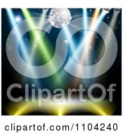 Clipart Silver Disco Ball Over A Dance Floor With Colorful Lights Royalty Free Vector Illustration by AtStockIllustration