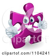 Clipart Happy Purple Jigsaw Puzzle Piece Mascot Holding Two Thumbs Up Royalty Free Vector Illustration by AtStockIllustration