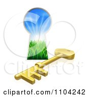 3d Gold Skeleton Key And Hole With Sunshine And Grass