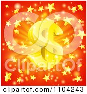 Clipart 3d Sparkling Gold Dollar Symbol And Star Burst Over Red Royalty Free Vector Illustration