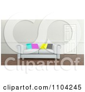Clipart 3d White Sofa With CMYK Pillows In An Office Royalty Free CGI Illustration
