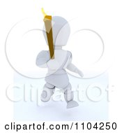 Clipart 3d White Character Running With The Olympic Torch Royalty Free CGI Illustration