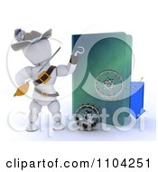 Clipart 3d Illegal Movie Download White Character Pirate With A Folder And Film Reels Royalty Free CGI Illustration