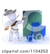 Clipart 3d Illegal Music Download White Character Pirate With A Folder Royalty Free CGI Illustration