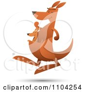 Clipart Baby Joey Kangaroo Riding In Its Mothers Pouch As She Hops Royalty Free Vector Illustration