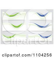 Clipart Six Wite Green And Blue Wave Banners Royalty Free Vector Illustration