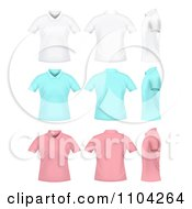 White Blue And Pink Womens Polo Shirts