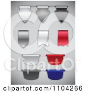 Clipart 3d Silver Chrome Black Red And Blue Ribbon Design Elements Royalty Free Vector Illustration