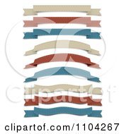 Clipart Retro Tan Red And Blue Cloth Ribbon Banners Royalty Free Vector Illustration by vectorace