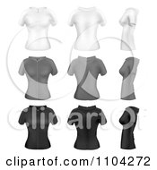 White Gray And Black Womens Short Sleeved Hoodies