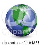 Clipart 3d Reflective Globe With North America Royalty Free Vector Illustration
