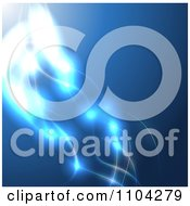 Clipart Blue Background Of Glowing Light Strands 1 Royalty Free Vector Illustration