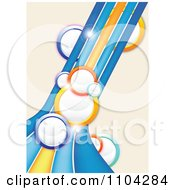 Clipart Background Of Colorful Bubbles Light Flares And Curving Lines On Beige Royalty Free Vector Illustration by vectorace