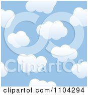 Clipart Seamless Blue Sky And Puffy White Cloud Background Pattern Royalty Free Vector Illustration
