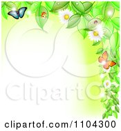 Clipart Border Of Flowering Vines Butterflies And Ladybugs With Copyspace Royalty Free Vector Illustration by vectorace