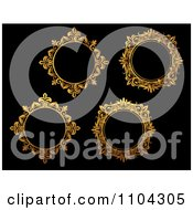 Clipart Ornate Golden Round Frames On Black 2 Royalty Free Vector Illustration by Vector Tradition SM