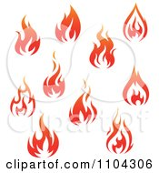 Clipart Red Fires 3 Royalty Free Vector Illustration