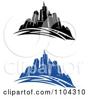 Clipart Black And White And Blue City Skyline Royalty Free Vector Illustration by Vector Tradition SM