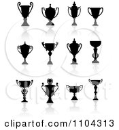 Clipart Silhouetted Trophy Cups And Urns And Reflections 2 Royalty Free Vector Illustration