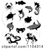 Clipart Black And White Silhouetted Crabs Fish Sea Turtle Dolphin Chinese Dragon Horse Shark Pig And Seahorse Royalty Free Vector Illustration