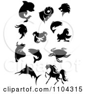 Black Silhouetted Dolphin Goats Lion Crab Parrot Fish Bull Sea Turtle Marlin And Horse
