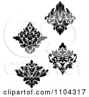 Clipart Black And White Damask Design Elements Royalty Free Vector Illustration