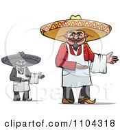 Clipart Grayscale And Colored Mexican Chefs Presenting Royalty Free Vector Illustration