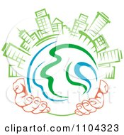 Clipart Pair Of Hands Holding A Globe With Green Skyscrapers On Top 1 Royalty Free Vector Illustration