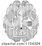 Clipart Black And White Circuit Brain With A Computer Chip Royalty Free Vector Illustration