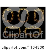 Clipart Ornate Golden Frames On Black Royalty Free Vector Illustration